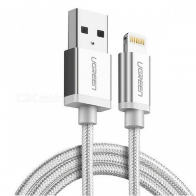 Ugreen US199 Nylon Lightning to USB Charging Data Cable - Silver(25cm)
