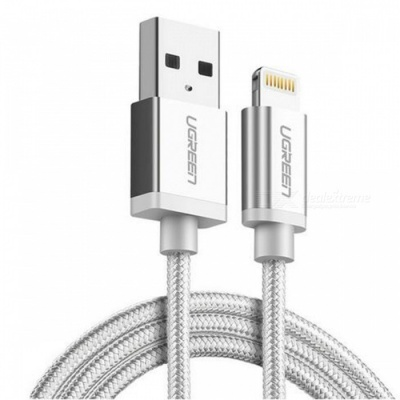 Ugreen US199 Nylon Lightning to USB Charging Data Cable - Silver (2m)