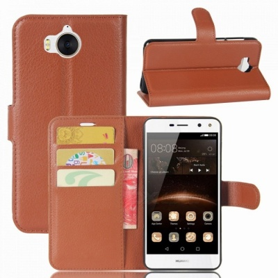 Lychee Pattern Protective PU Case for Huawei Y5 2017 - Brown