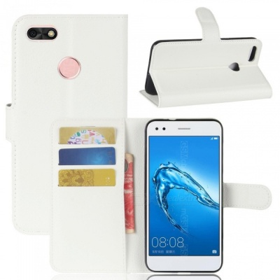 Lychee Pattern Protective PU Case for Huawei Y6 PRO 2017 - White