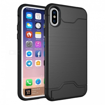 Adeline Wire Drawing Carbon Fiber TPU Case for IPHONE X - Black
