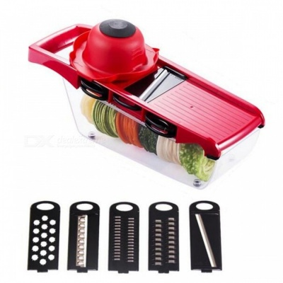 5-Blade Multifunctional Vegetable Slicer - Red, Black, Transparent