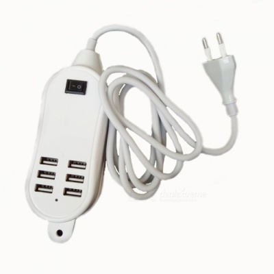 Intelligent Multi-function 5A USB 6-Port Charger - White