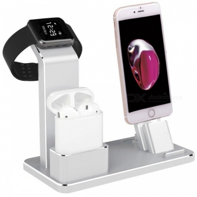 Metal 4-in-1 Apple Watch AirPods IPHONE Charging Stand - Silver