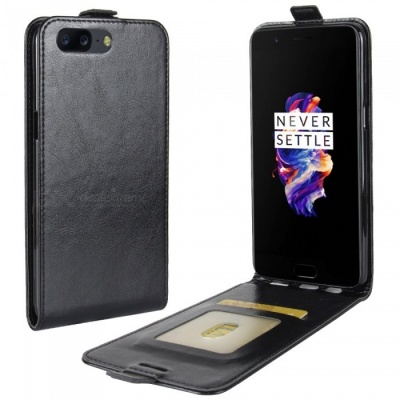 Up-Down Flip Open Protective PU Case for  OnePlus 5 - Black