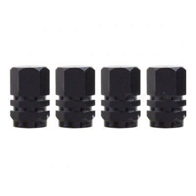 MZ Hexagon Aluminum Car Tire Valve Stem Caps - Black (4 PCS)