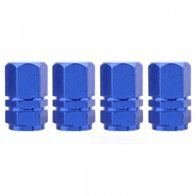 MZ Hexagon Aluminum Car Tire Valve Stem Caps - Blue (4 PCS)