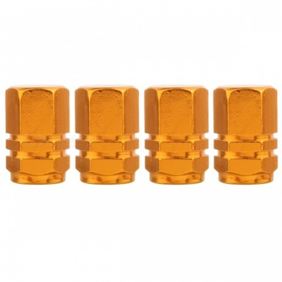 MZ Hexagon Aluminum Car Tire Valve Stem Caps - Golden (4 PCS)