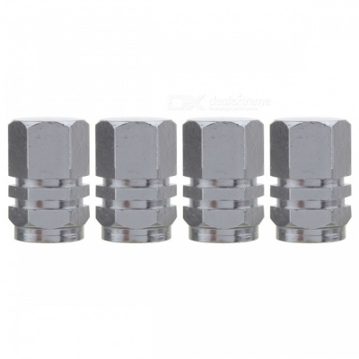 MZ Hexagon Aluminum Car Tire Valve Stem Caps - Gray (4 PCS)
