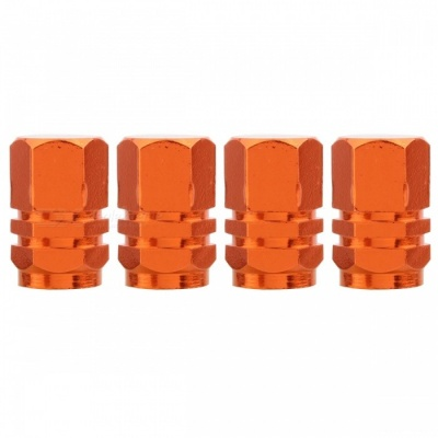 MZ Hexagon Aluminum Car Tire Valve Stem Caps - Orange (4 PCS)