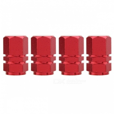 MZ Hexagon Aluminum Car Tire Valve Stem Caps - Red (4 PCS)