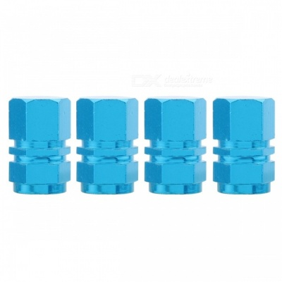 MZ Hexagon Aluminum Car Tire Valve Stem Caps - Sky Blue (4 PCS)