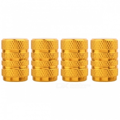 MZ Round Aluminum Car Tire Valve Stem Caps - Golden (4 PCS)