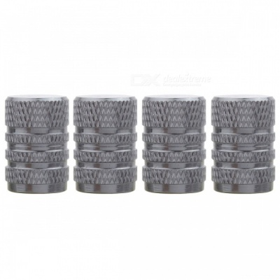 MZ Round Aluminum Car Tire Valve Stem Caps - Gray (4 PCS)