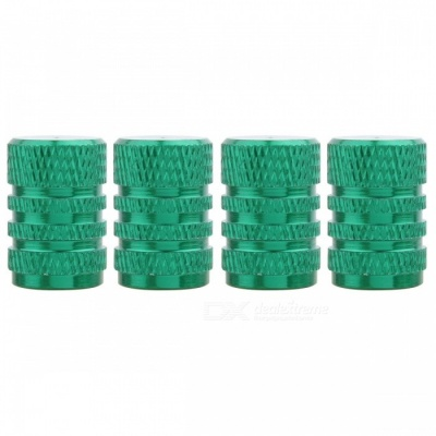 MZ Round Aluminum Car Tire Valve Stem Caps - Green (4 PCS)
