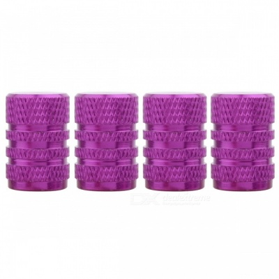 MZ Round Aluminum Car Tire Valve Stem Caps - Purple (4 PCS)