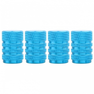 MZ Round Aluminum Car Tire Valve Stem Caps - Sky Blue (4PCS)