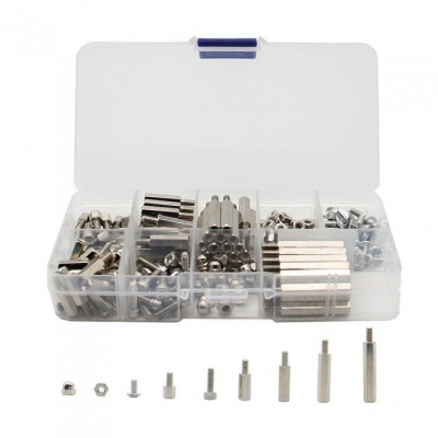 220Pcs/Lot M3 Nickel Plating Brass Spacer, Screw, Nut Kit with Case