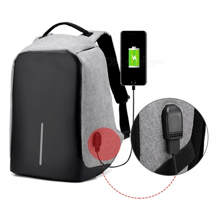 Multi-functional Travel Student Backpack with USB Charging Port - Gray