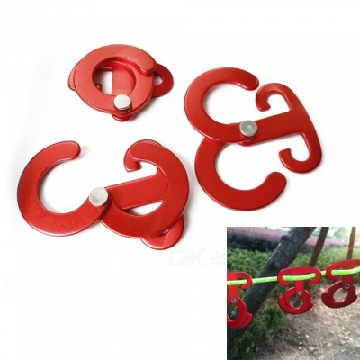 Aluminum Alloy O-Type Self-Locking Hook Clasp - Red (3 PCS)