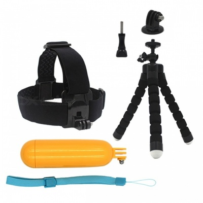 Head Strap with Floaty Bobber, Tripod for Sport Camera - Black