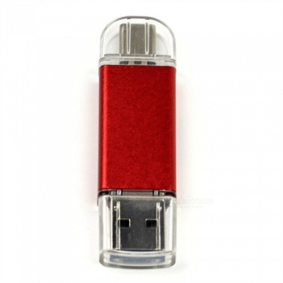 Multi-function 3-in-1 USB-A-Micro Type-C TF SD Card Reader - Red
