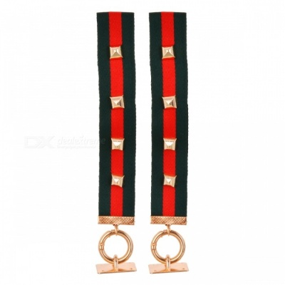 DIY Stylish Hanging Strap Hand Strap w/ Alloy Ring - Red+Green (2PCS)