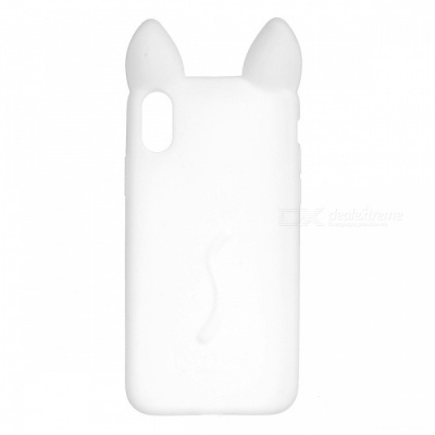 Cute Protective Cat Ear Style Silicone Back Case for IPHONE X - White