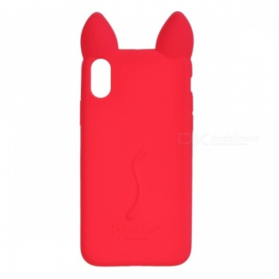 Cute Protective Cat Ear Style Silicone Back Case for IPHONE X - Red