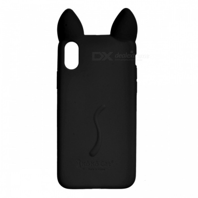 Cute Protective Cat Ear Style Silicone Back Case for IPHONE X - Black