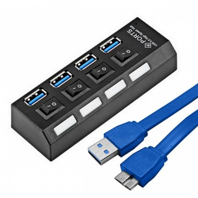 Mini 5Gbps High Speed 4-Port USB 3.0 Hub with On Off Switch - Black
