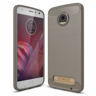Dayspirit Wire Drawing Carbon Fiber TPU Case for Moto Z2 Play - Gray