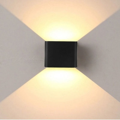 JIAWEN 6W Warm White LED Wall Lamp for Indoor, Outdoor - Black