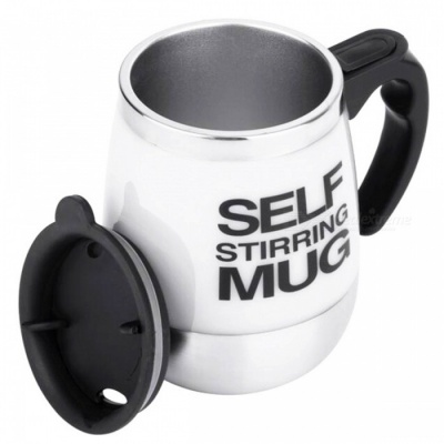Creative Stainless Steel Lazy Electric Mixing Cup Mug - White, Silver