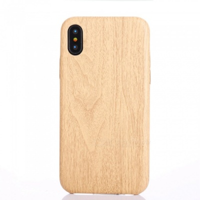 Wood Grain PU Protective Case for IPHONE X  - Light Brown