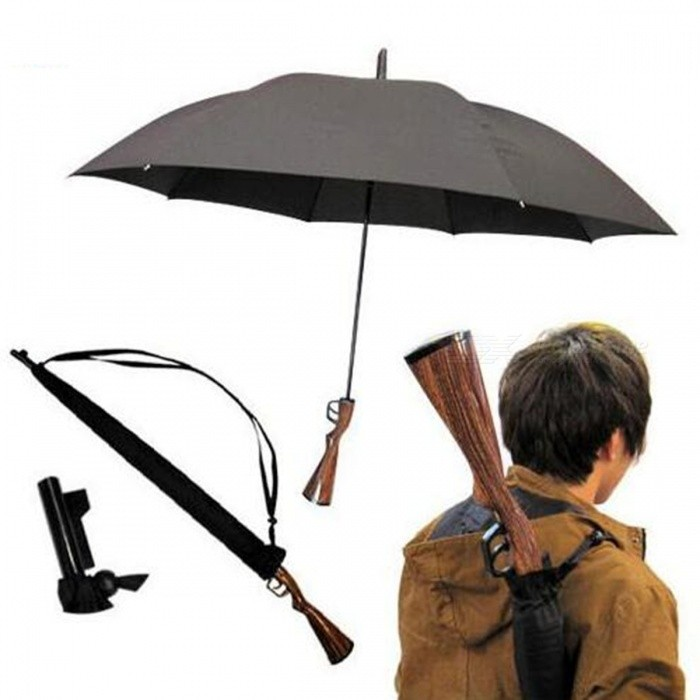 Creative Handheld Long Straight Pole Rifle Shape Umbrella - Black