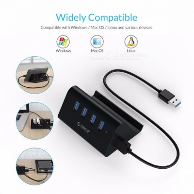 ORICO SHC-U3 High Speed Mini 4 Ports USB 3.0 HUB w/ Holder - Black