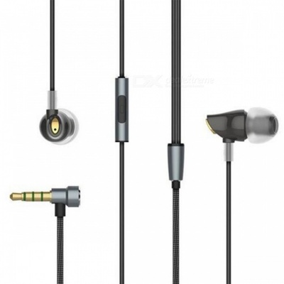 Rock Zircon Stereo 3.5mm Wired Earphone with Microphone - Black
