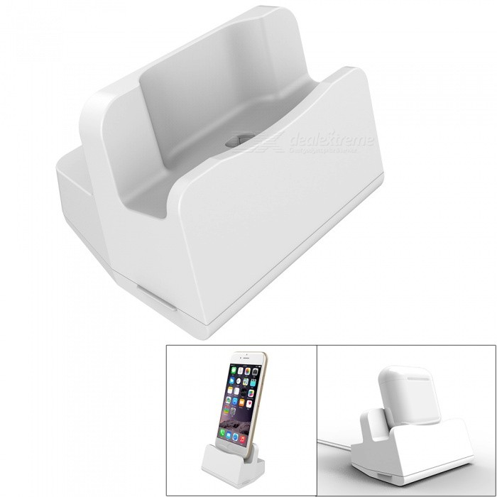 KICCY 2-in-1 Charging Dock for IPHONE, Airpods - White
