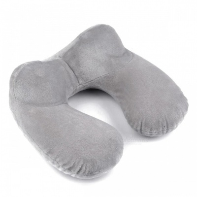 P-TOP U-Shape Inflatable Travel Pillow for Airplane - Gray