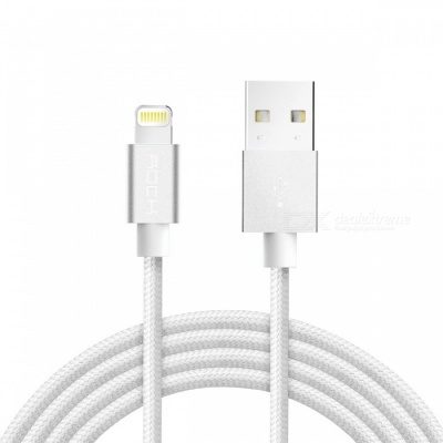 ROCK MFI Lightning to USB Charge & Sync Round Cable - White (1m)