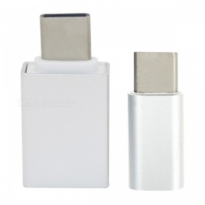 Mini Smile USB 3.1 Type-C to Micro USB + USB 3.0 OTG Adapters - Silver