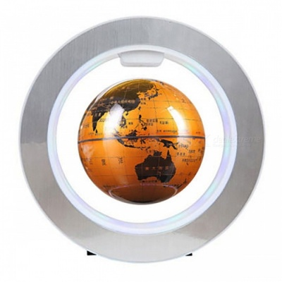 Electronic Magnetic Levitation Floating Globe Rotation Map - Golden