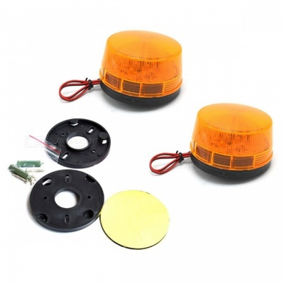ZHAOYAO DC 12V 60W Yellow Plastic LED Flash Strobe Signal Light (2PCS)