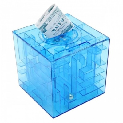 Money Maze 3D Puzzle Box Piggy Bank Currency Gift for Kids - Blue