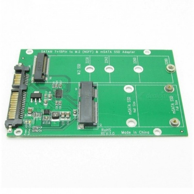 2-in-1 NGFF or mSATA SSD to SATA 3.0 Adapter Converter Card