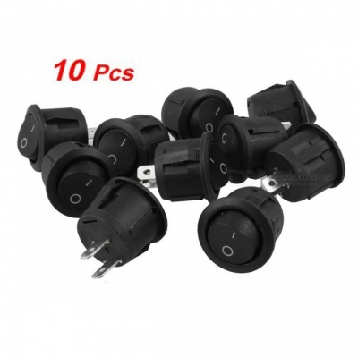 ZHAOYAO SPDT 10Pcs On/On Round Rocker Switches - Black