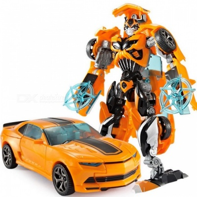 18.5cm Plastic Transformation Robot Car Action Toy - Yellow