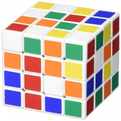 ShengShou 62mm 4x4x4 Scrub Stickers Speed Magic Cube Puzzle Toy for Kids Adults - White