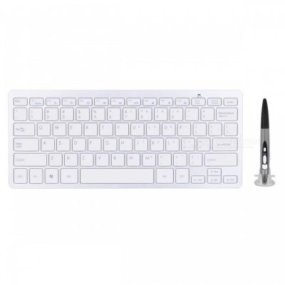 BLCR Wireless Keyboard with Adjustable DPI Optical Pen Mouse - Grey